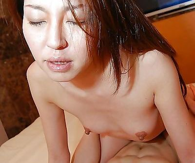 Horny asian MILF with perky tits Satomi Endou gives head and gets slammed