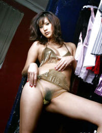 Oriental youthful Sara Tsukigami revealing her dear scones and  slit