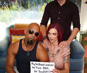 Slutty Anna Bell Peaks on her knees sucking big black cock in steamy threesome