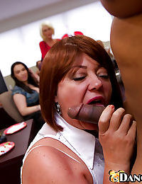 Office sluts are having their mouths fucked while enjoying the taste of cum