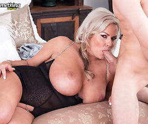 Hot older lady Samantha Jayne takes a young boys virginity