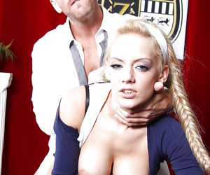 Major titted schoolgirl has intercourse on the table and attains cock cream on her face