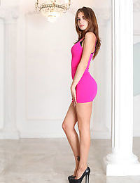 Teen glamour model Karla strips off pink dress and lingerie to pose naked