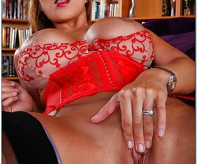 Mature asian wife Ava Devine spreading pussy in sexy red lingerie