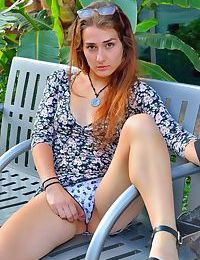 Naughty teen girl flash a no panty upskirt and her tits too on sidewalk