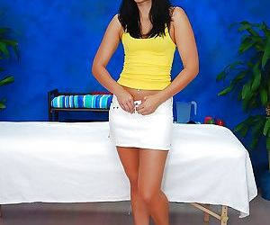 Ardent dark brown amateur pretty Tiffany T takes off short skirt showing gazoo