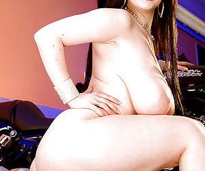 Euro babe Karina Hart unveiling massive hanging juggs and shaved vagina