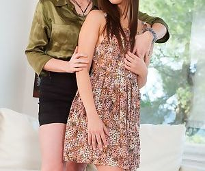 Young lesbians Lily Cade and Jenna Sativa lick each other pussy and asshole