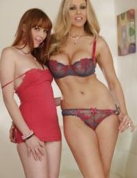 Mature lesbian Marie McCray licks out teen girl Julia Ann nicely