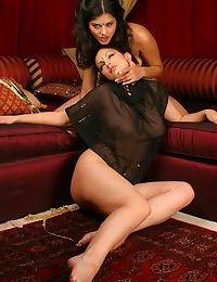 Indian babe Sunny Leone engages in her first girl on girl experience