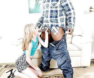 Young blonde pornstar Tysen Rich on her knees to suck off black dick