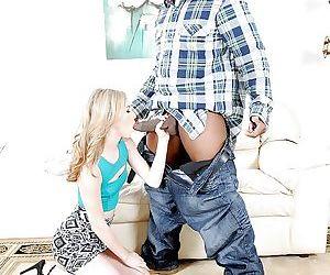 Young blonde pornstar Tysen Rich on her knees to suck off black dick