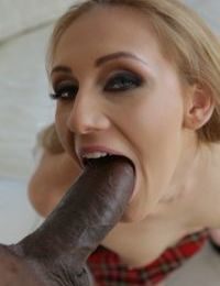 Teen girl Linda Leclair gets chipmunked while blowing a big black dick