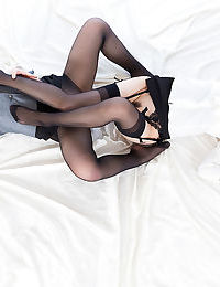 Clothed Japanese schoolgirl hike up their skirts and hump in black hosiery