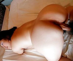 Chubby asian floosie surrounding saggy boobs has some pussy vibing with an increment of screwing joke