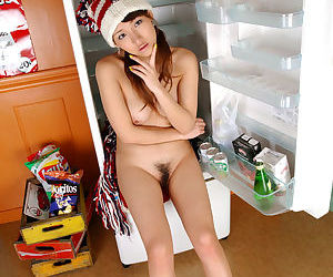 Slim asian babe Amu Masaki stripping and spreading her legs