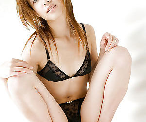 Victuals asian tot on snobbish heels Reika Shina stripping absent will not hear of apparel