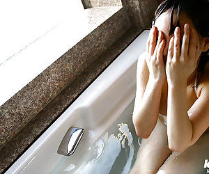 Hina Tachibana stripping off her uniform and taking bath in her lingerie