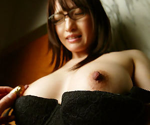 Submissive asian girl on touching glasses gets intricate come into possession of sexual intercourse play