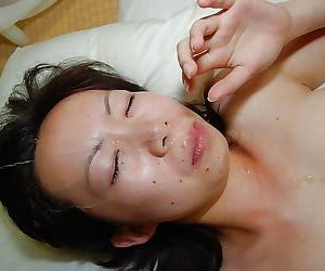 Lusty asian MILF with hairy cunt gets fucked and facialized after shower