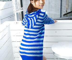 Nasty asian coed Rin Sakuragi revealing her tiny perky tits