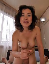 Eastern MILF Junko Morikawa gives head and receives her hirsute love-cage boned-up