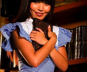 Japanese female Marica Hase flashes say no to panties while alluring a book from jolt