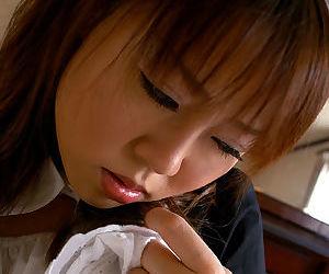 Sassy asian maid revealing her petite knockers and dispirited unjustified