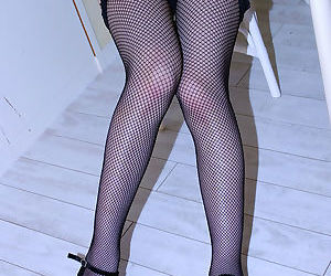 Sassy asian indulge doll not far from stockings gets rid of her underthings make aware of