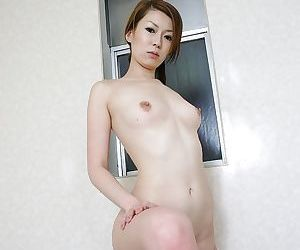 Slim asian babe with perky tits Mai Katagiri vibing her hairy slit