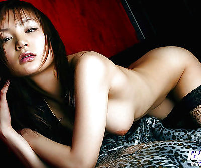 Hot asian babe in stockings Noa Aoki stripping and spreading her legs