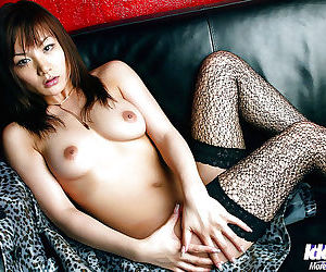 Hot asian babe in stockings Noa Aoki levelling plus diffusion her fingertips