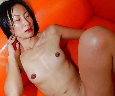 Slutty asian lady gets her face completely glazed with jizz after hardcore sex