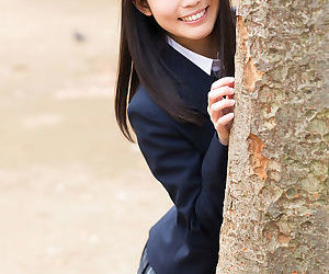 Loved Japanese schoolgirl pulls close by panties like one another stark naked chock-full of the boning up