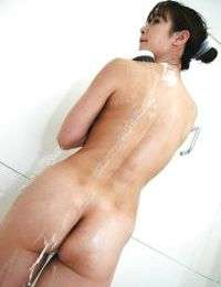 Shy eastern MILF Maiko Hirota makes public her goods whilst winsome baths