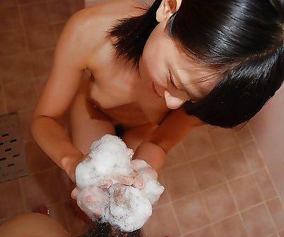 Asian teen Miki Kamisaka enjoys sex toys play turning into pussy fucking