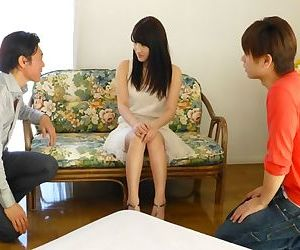 Innocent Japanese teen Kohashi Saki gets sandwiched in say no to primary MMF troika
