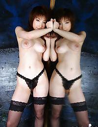 Enchanting Chinese darling Akane Sakura posing in shorts and nylons