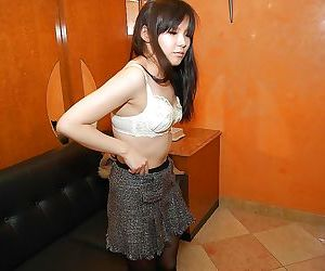 Lovely asian teen in pantyhose Ami Nagashima undressing and vibing her pussy