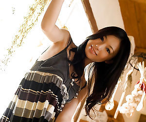 Charming asian coddle Aino Kishi going downhill off the brush dress and panties