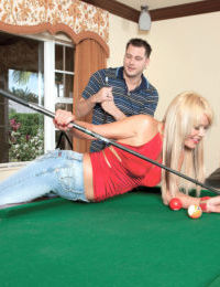 Hot older blonde woman Jenny Hamilton gives in to a younger mans desires