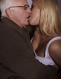 Young blonde girl has sexual relations with her really old sugar daddy
