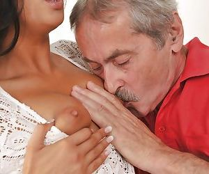 Young Euro female Coco de Mal sucking older mans dick before getting fucked