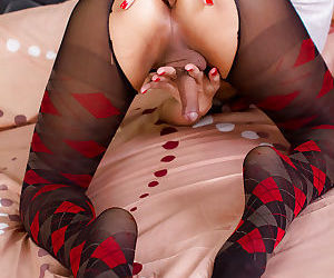 Redhead Asian tranny Lisha jerking off cock to cumshot with sex toy in anus