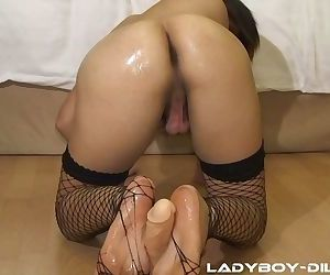 Hot ladyboy in fishnet stockings Zaza gives a dildo a perfect footjob