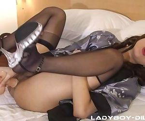 Perfect Asian ladyboy in stockings Oa bangs herself with a dildo