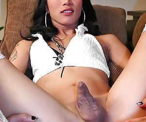 Small tit Asian shemale Nikole getting an anal fucking in stockings