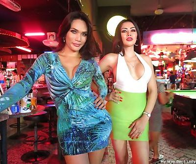 Leggy Asian ladyboys head out on the town where they easily pass for women