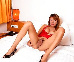 Foot fetish and cock jerking scene starring glamour Asian transsexual