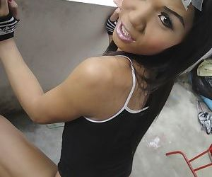 Beautiful ladyboy Da reveals her incredible beasts and toys her tight asshole